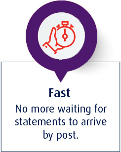 Fast - No more waiting for statements to arrive by post
